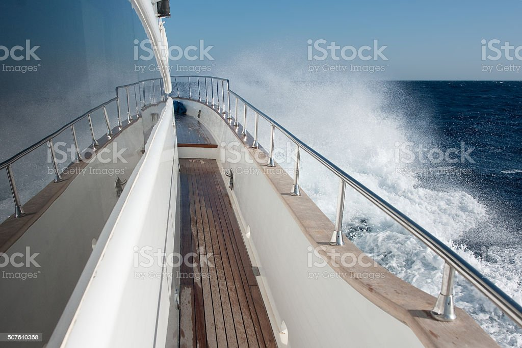 snow-white yacht in the Red Sea stock photo