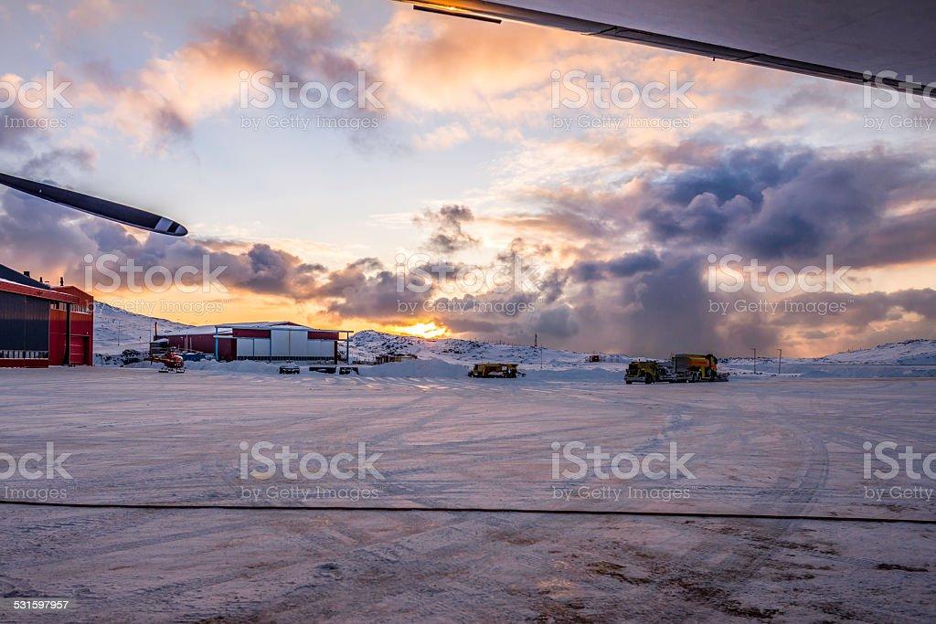 Snowy airport stock photo