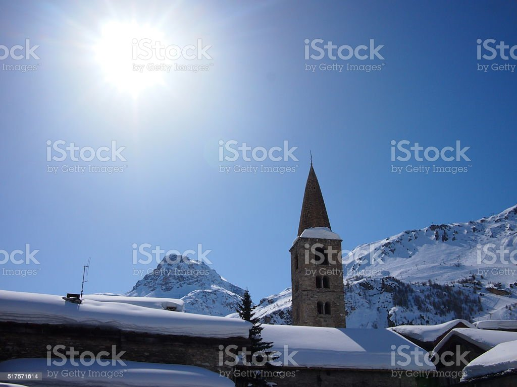 Snowy Alpine Church stock photo
