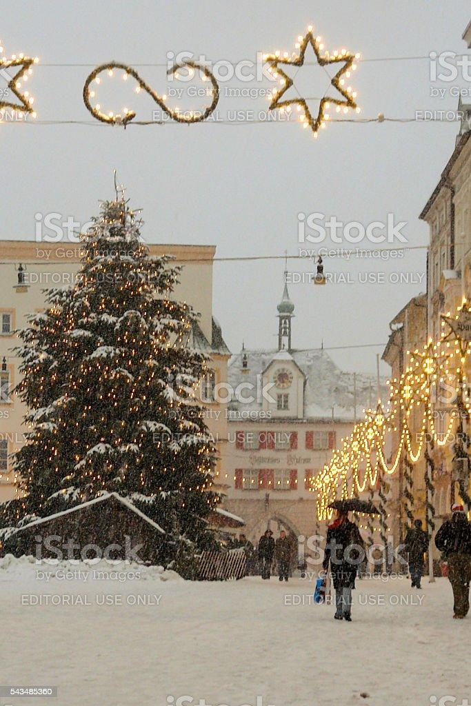 Snowy Alpine Town at Christmas stock photo