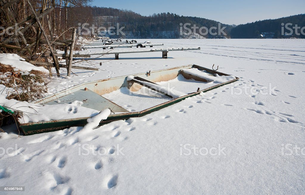 Snowy and frozen stock photo