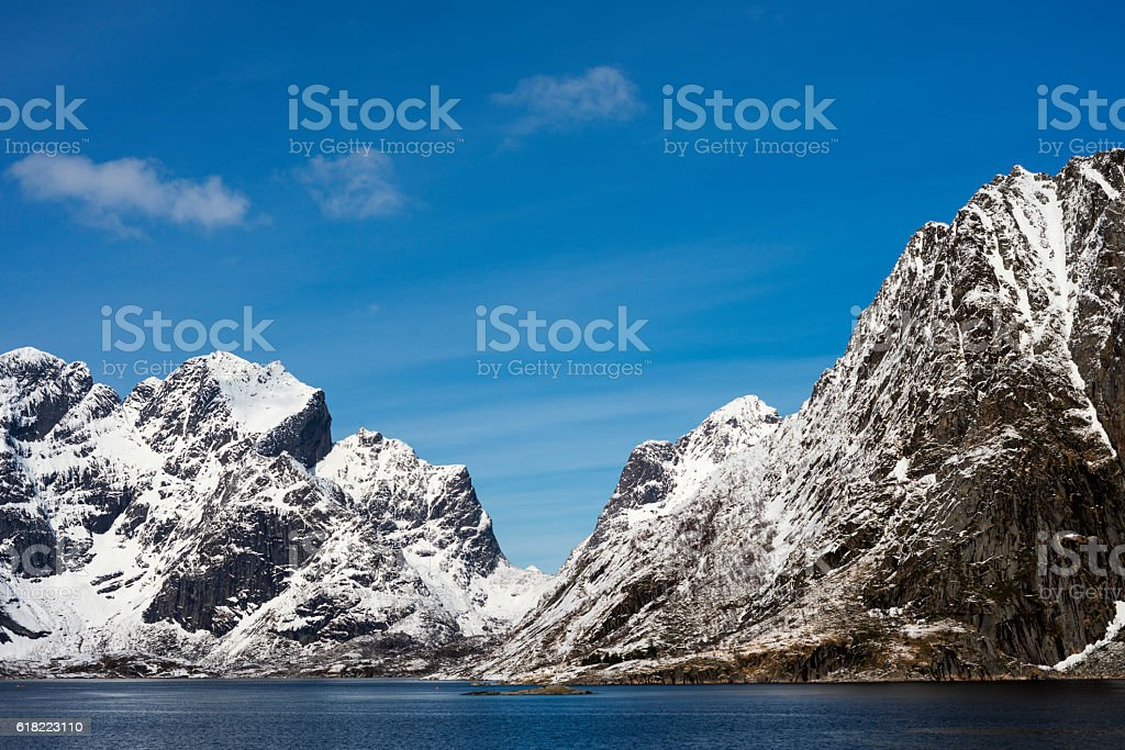 Snowy and Rocky Mountains stock photo