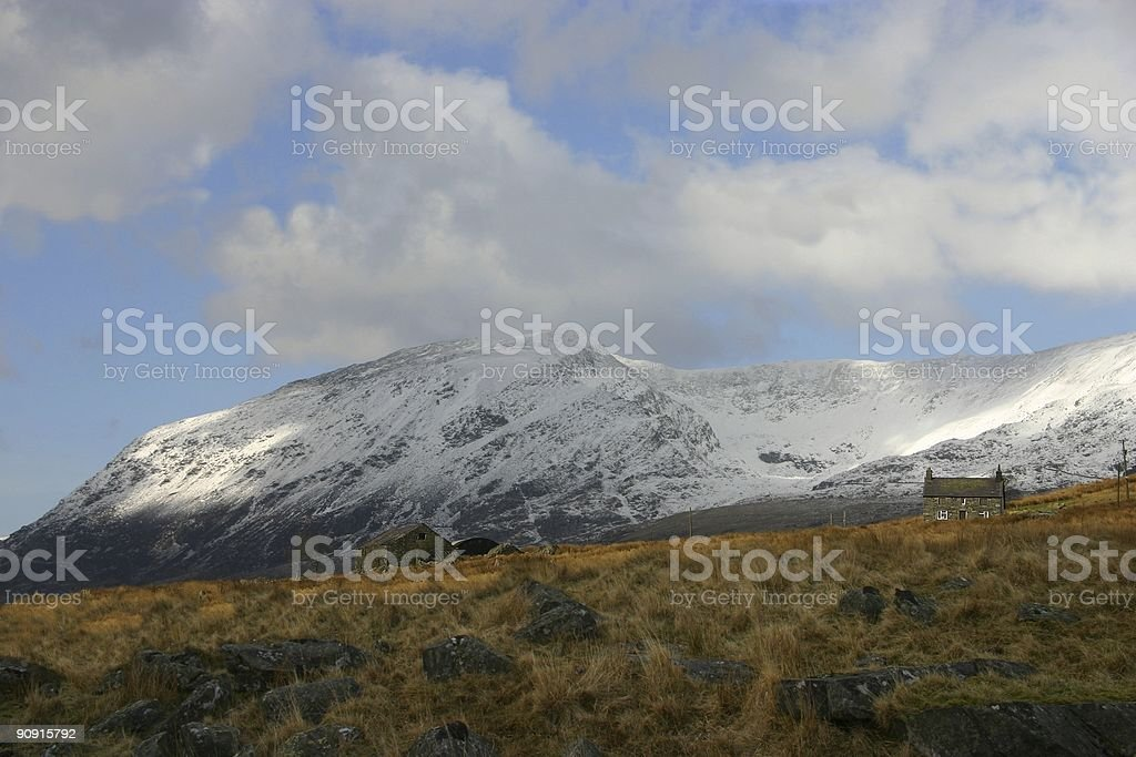 Snowy backdrop to a rural Welsh landscape royalty-free stock photo