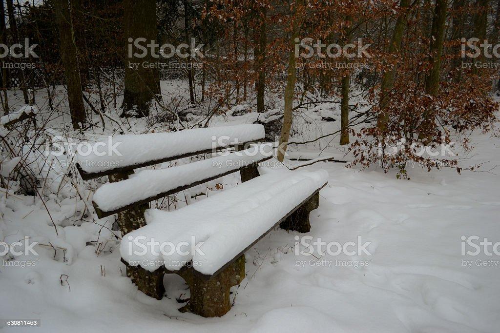 Snowy Bench stock photo