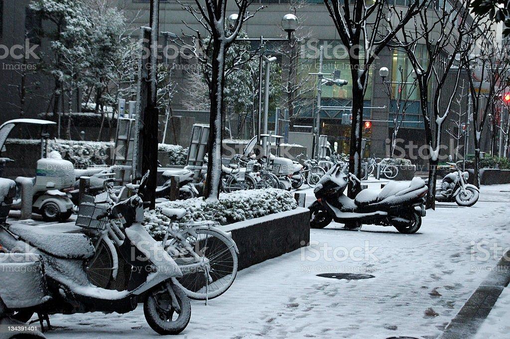Snowy bikes stock photo