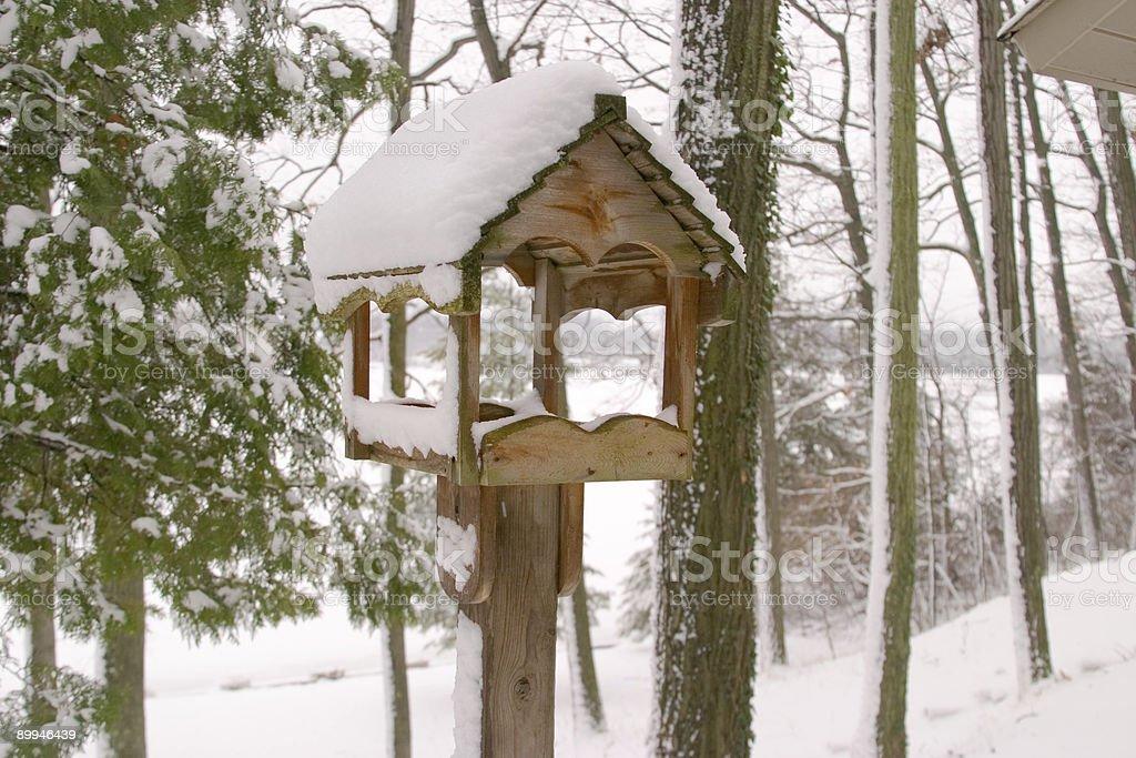 Snowy Birdhouse 2 royalty-free stock photo