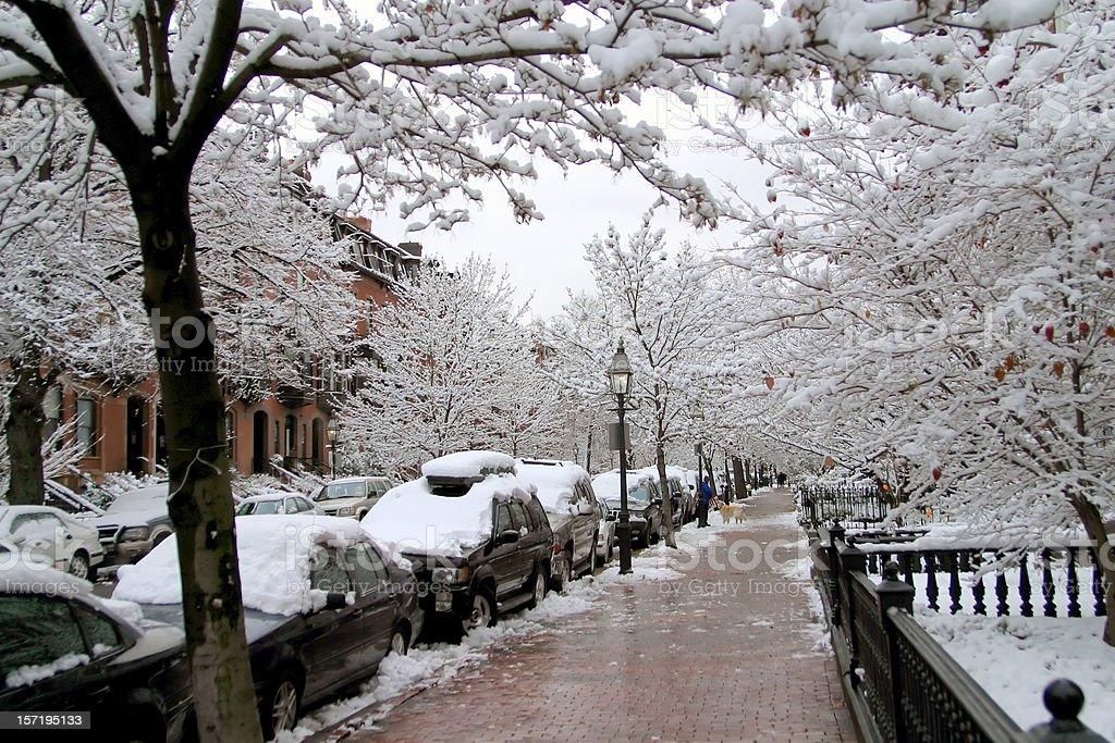 snowy Boston street royalty-free stock photo