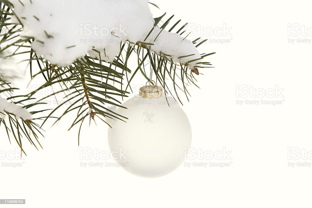 Snowy Branch and White Ornamet royalty-free stock photo