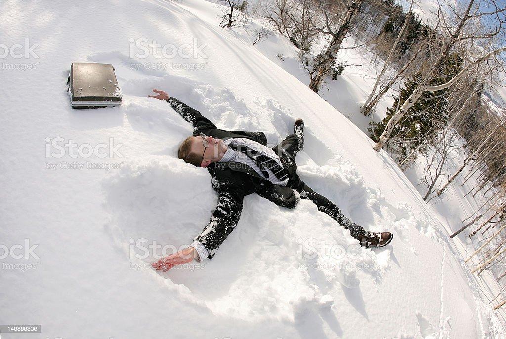 snowy businessman stock photo