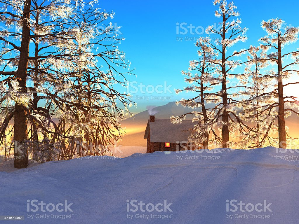 Snowy Cabin royalty-free stock photo