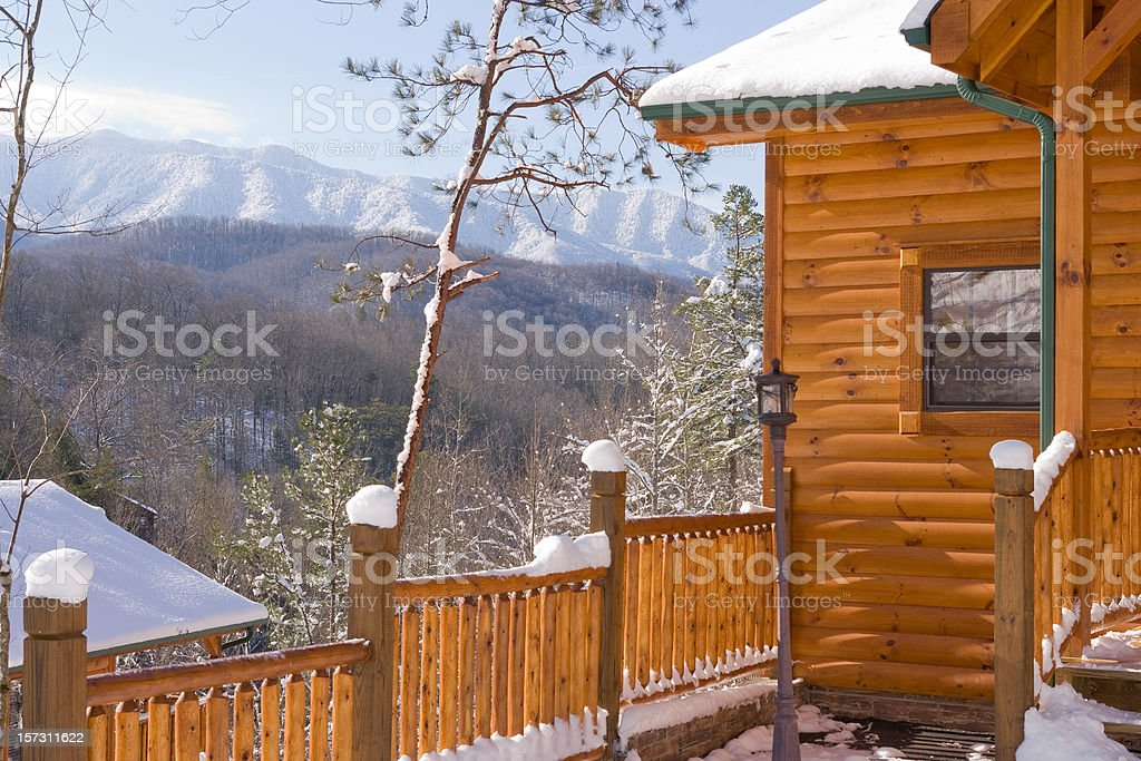 Snowy cabin with Smokies view royalty-free stock photo