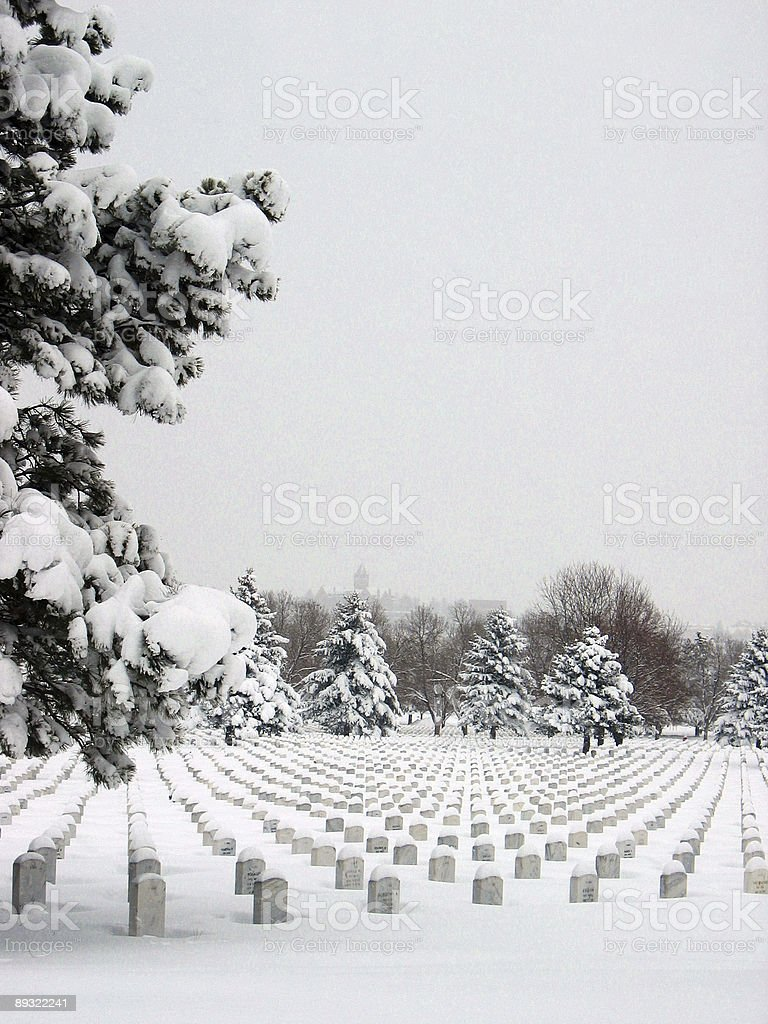 Snowy Cemetary royalty-free stock photo