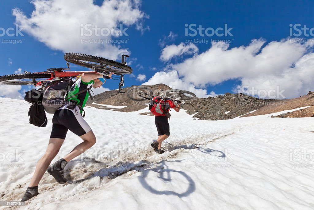 Snowy challenge at Madritsch col, South Tyrol stock photo