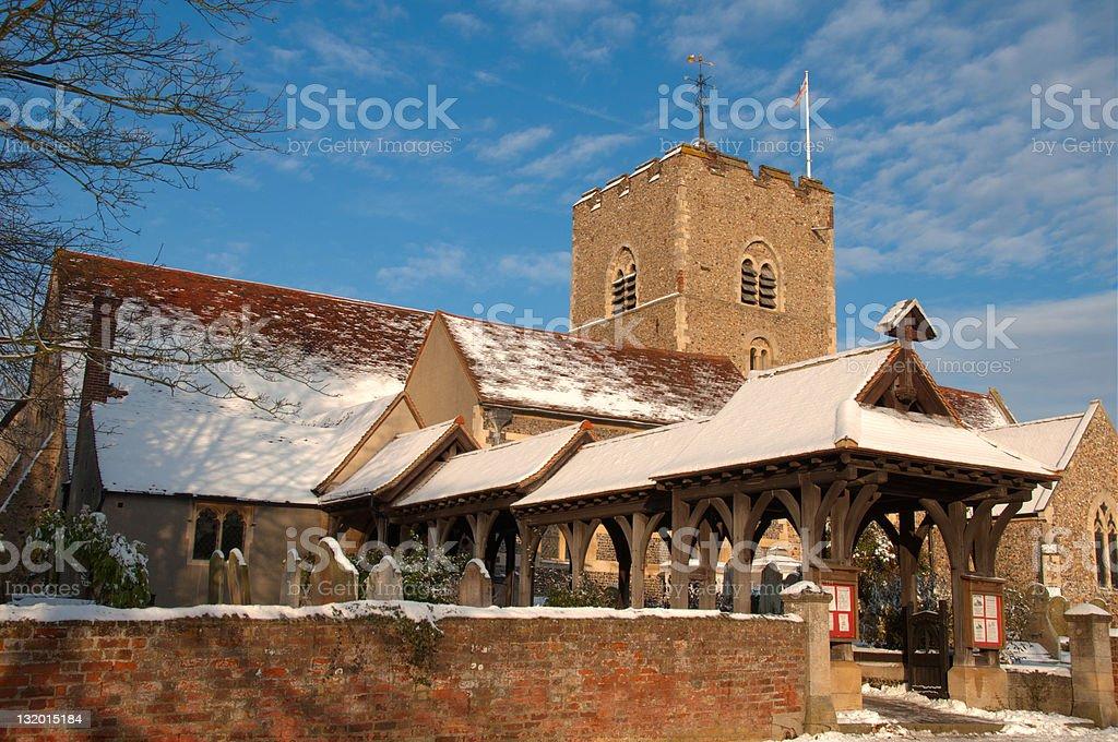 Snowy Christmas Church stock photo