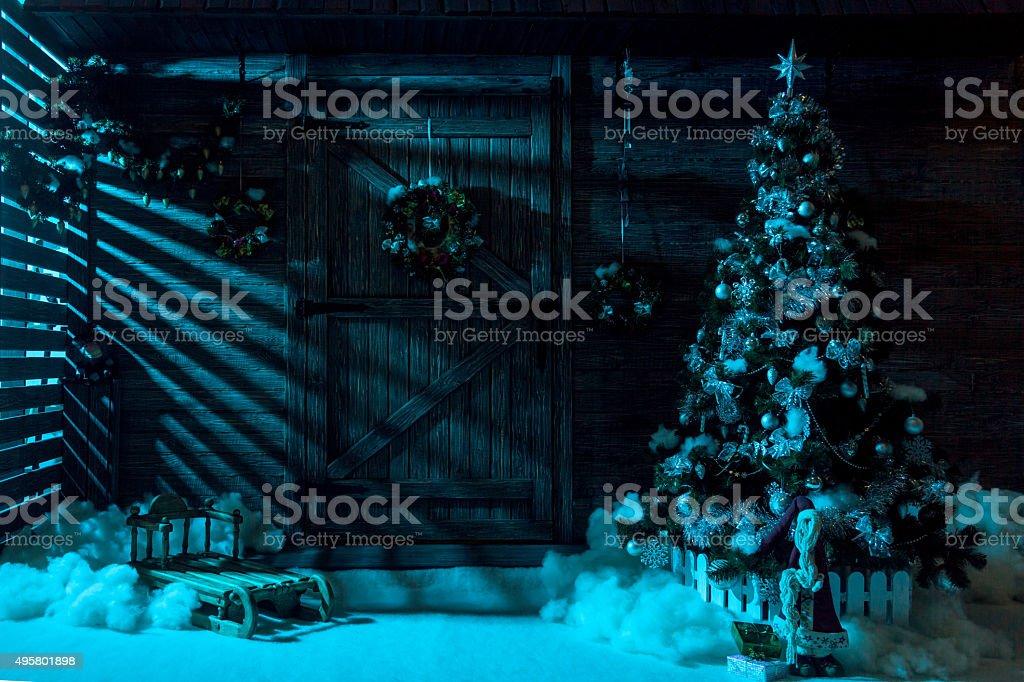 Snowy Christmas Night stock photo