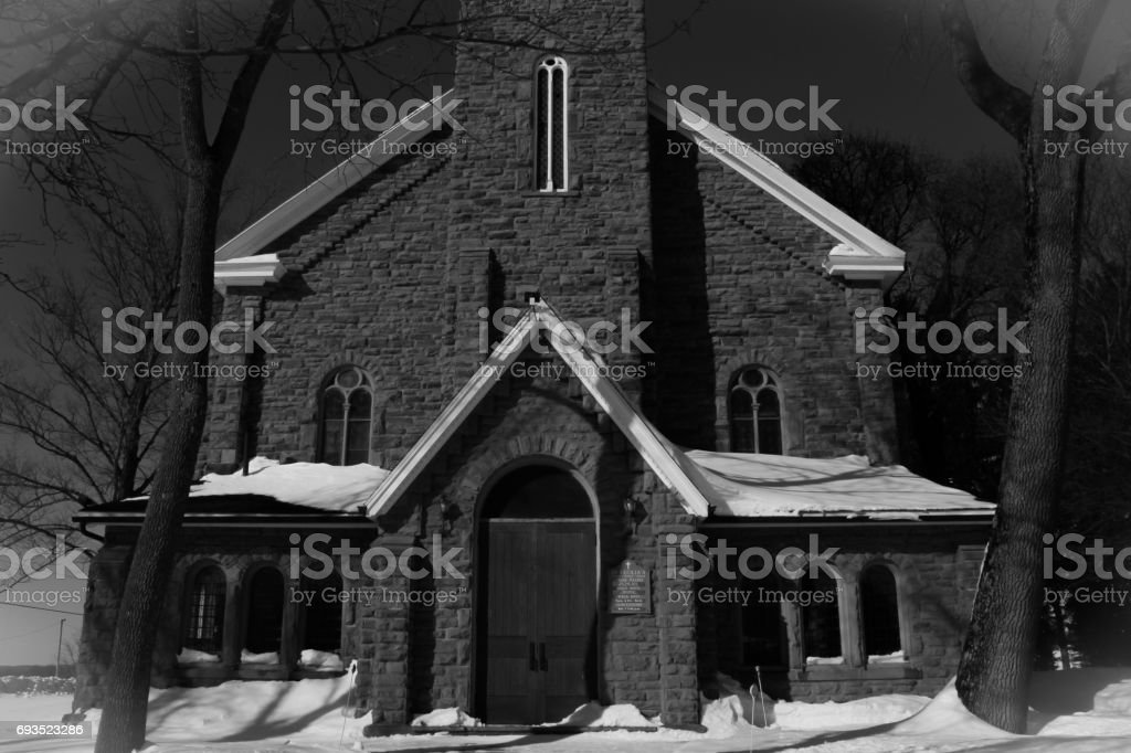 Snowy Church Front stock photo