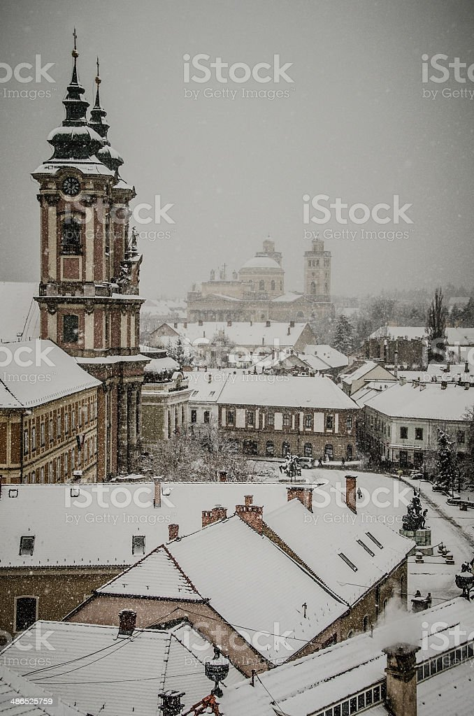 Snowy Cityscape - Eger, Hungary stock photo