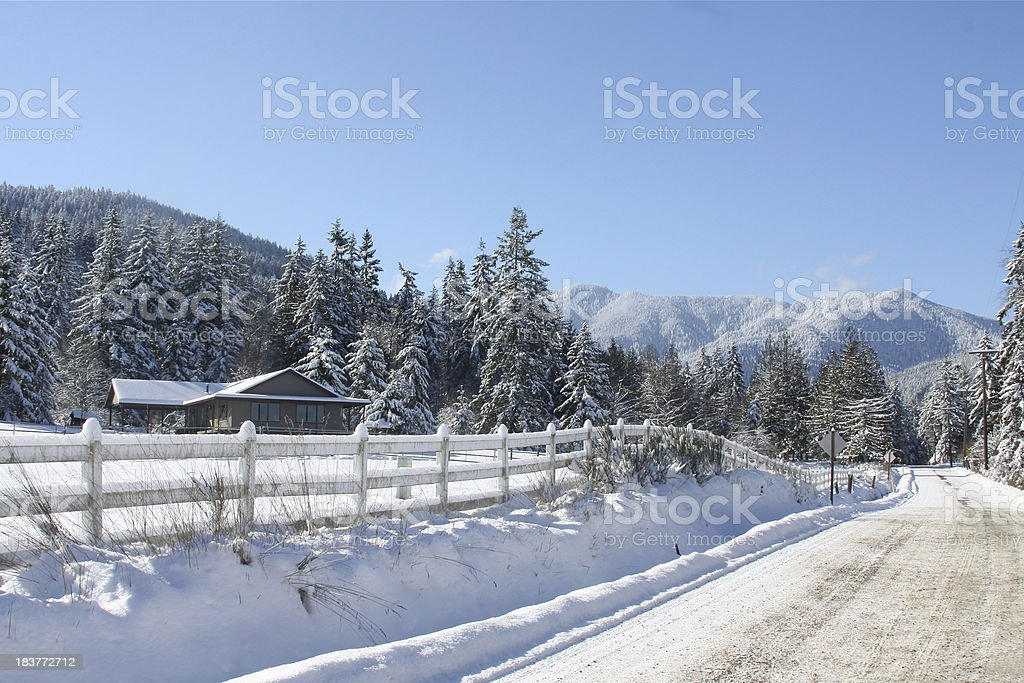Snowy Counrty Road royalty-free stock photo