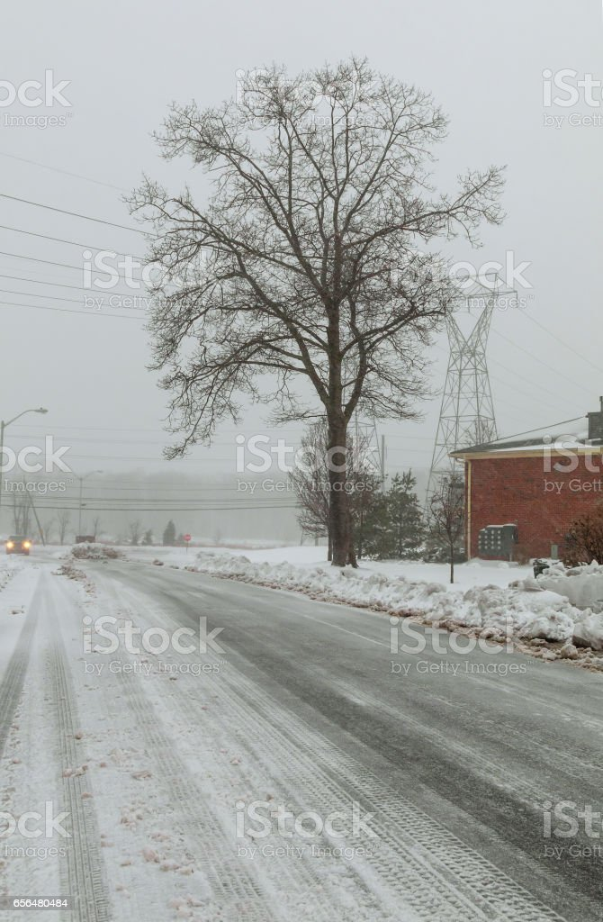Snowy country lane on an overcast winter day stock photo