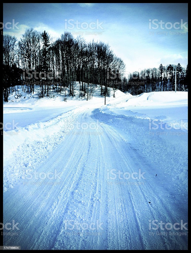 Snowy Country Road in Slovenia Europe stock photo