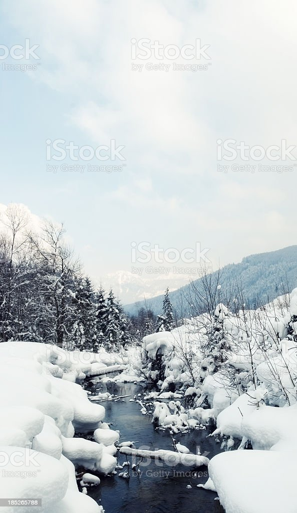 Snowy creek in a tranquil landscape stock photo