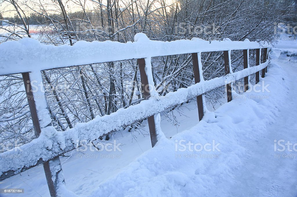 Snowy Fence and Pathway Yellowknife, stock photo