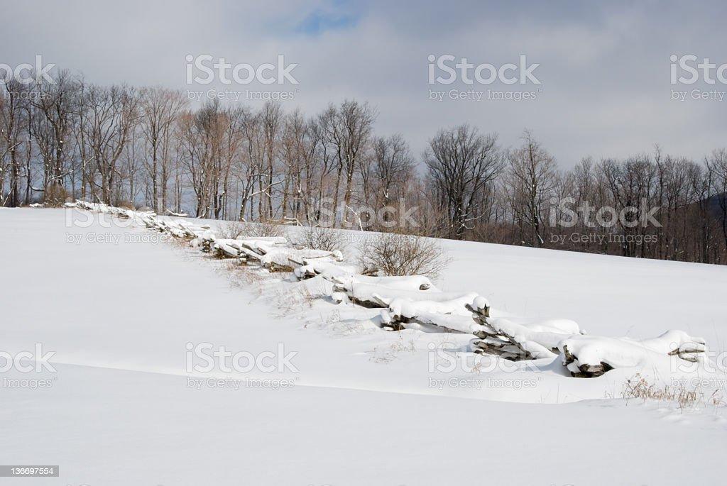 Snowy Field in Winter Landscape royalty-free stock photo
