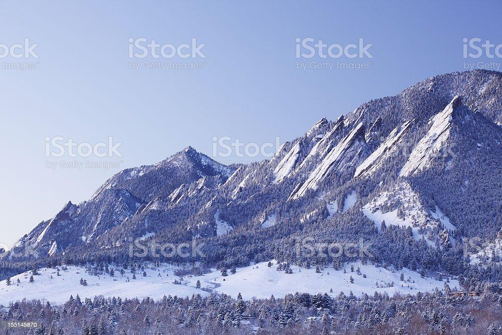 Snowy Flatirons of Boulder Colorado royalty-free stock photo