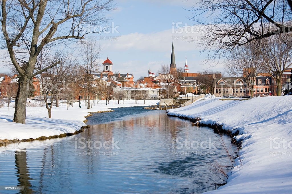 Snowy Frederick Maryland Park and Flowing Creek stock photo
