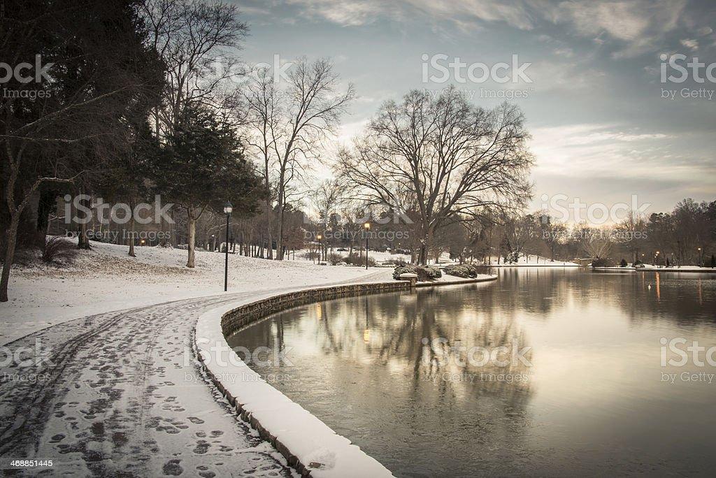 Snowy Freedom Park stock photo