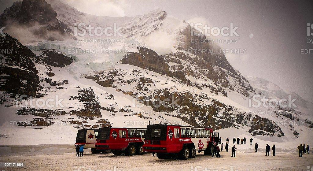 Snowy glacier in Canadian Rockies stock photo