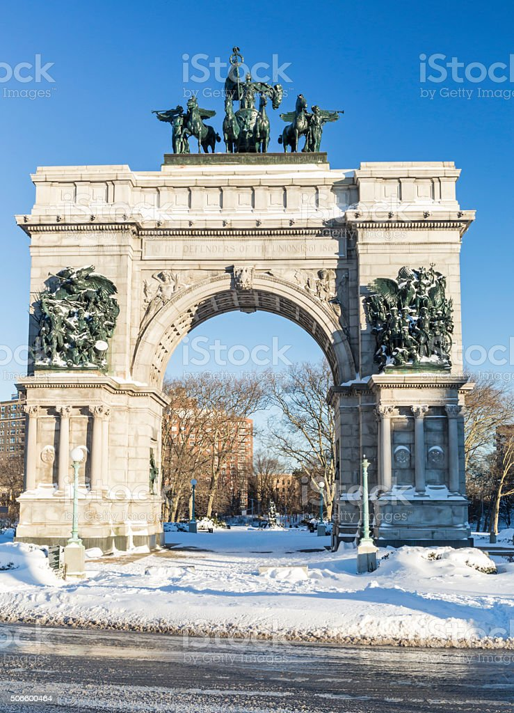Snowy Grand Army Plaza Monument stock photo