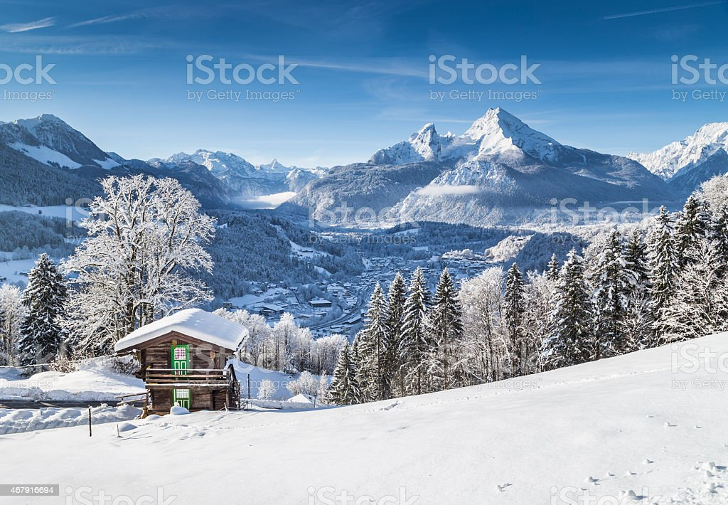 Snowy ground and icicles on trees next to lodge on the Alps stock photo