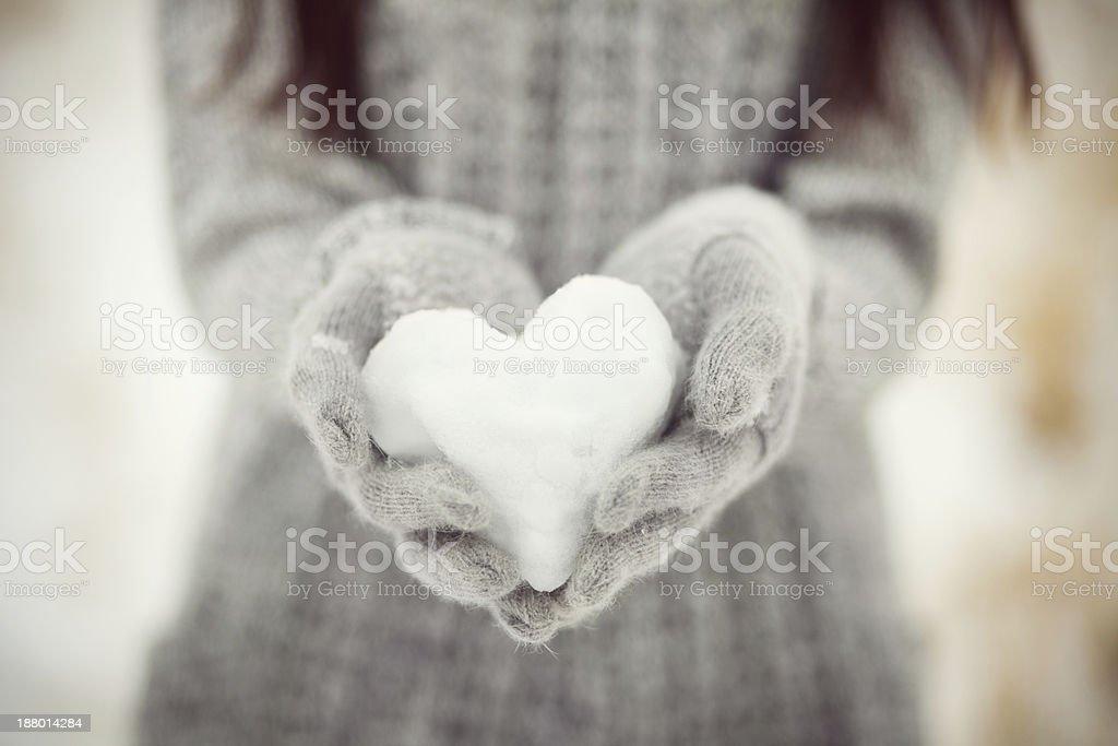 snowy heart stock photo