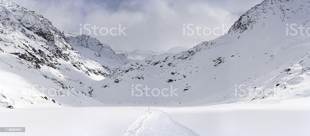 Snowy High Valley Panorama royalty-free stock photo