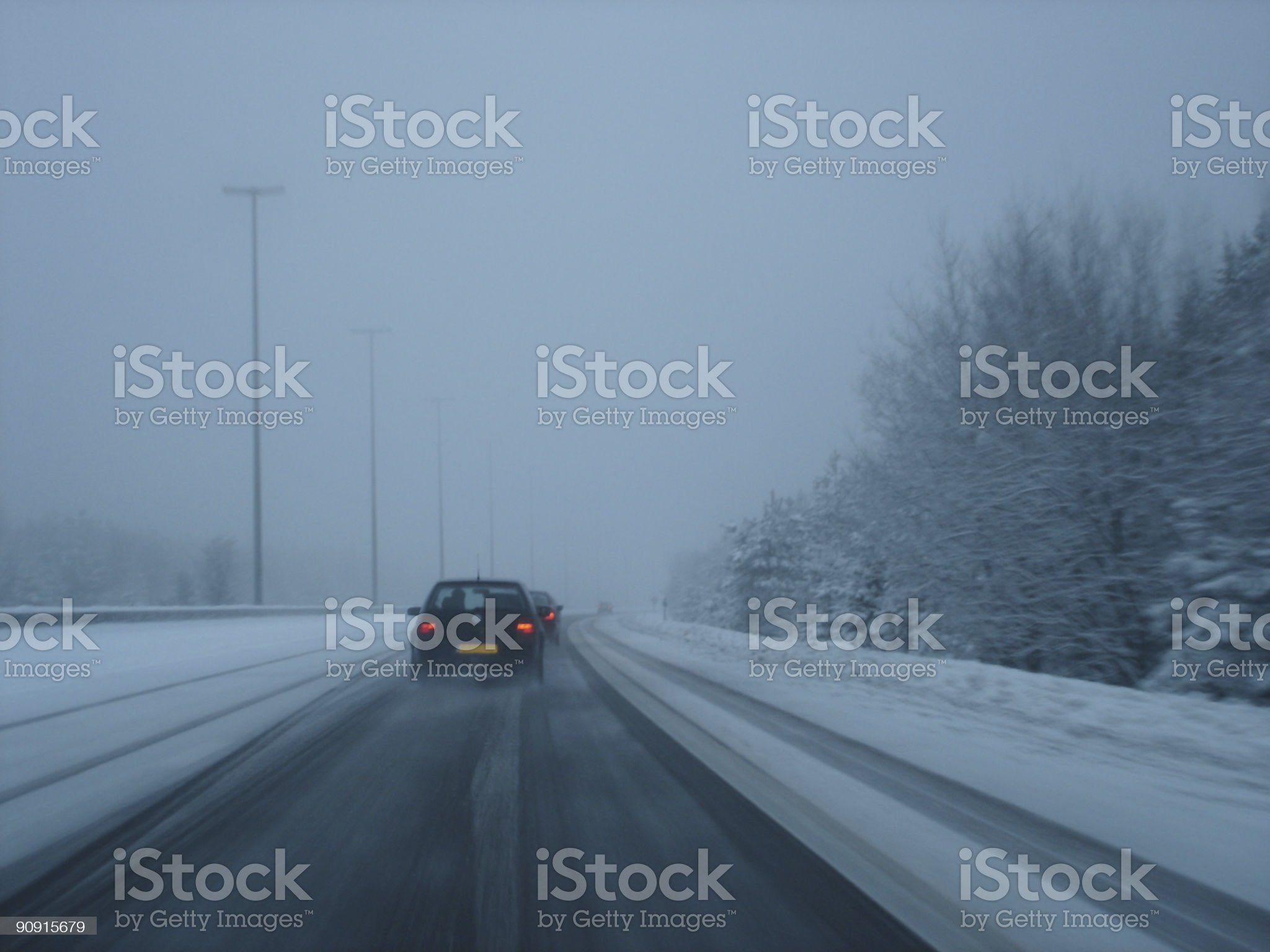 Snowy highway royalty-free stock photo