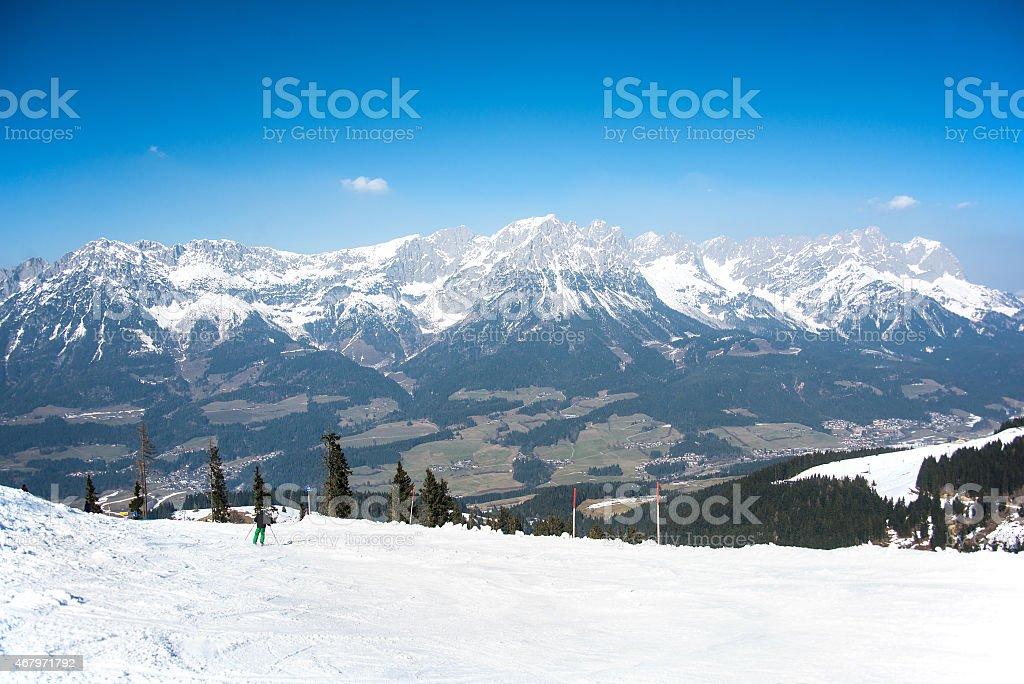 Snowy hill peak. Wilder Kaiser stock photo