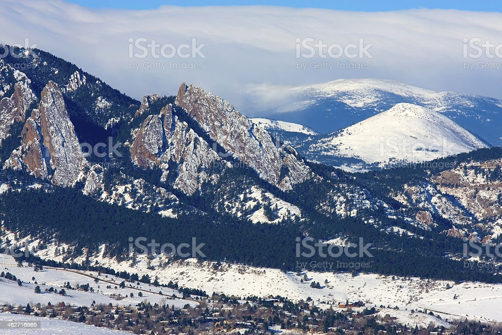 Snowy Hills of Boulder stock photo