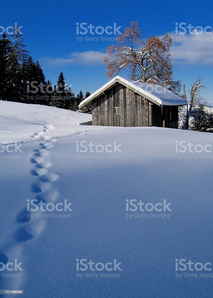 snowy house royalty-free stock photo