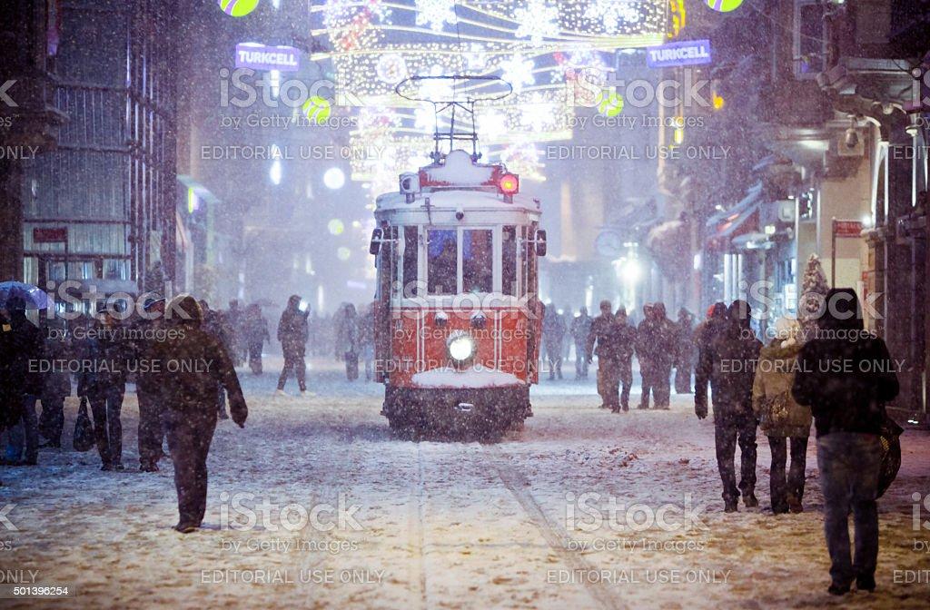 Snowy Istiklal stock photo