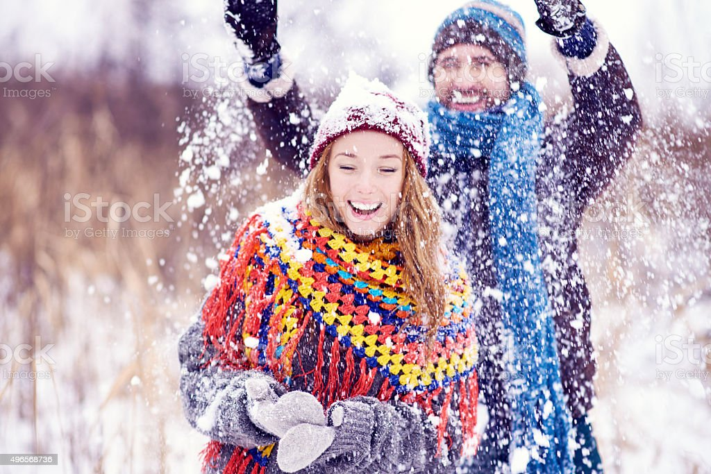 Snowy joy stock photo