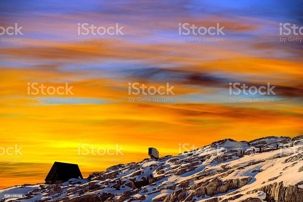 Snowy Julian Alps at Sunset, Kanin, Slovenia, Europe stock photo