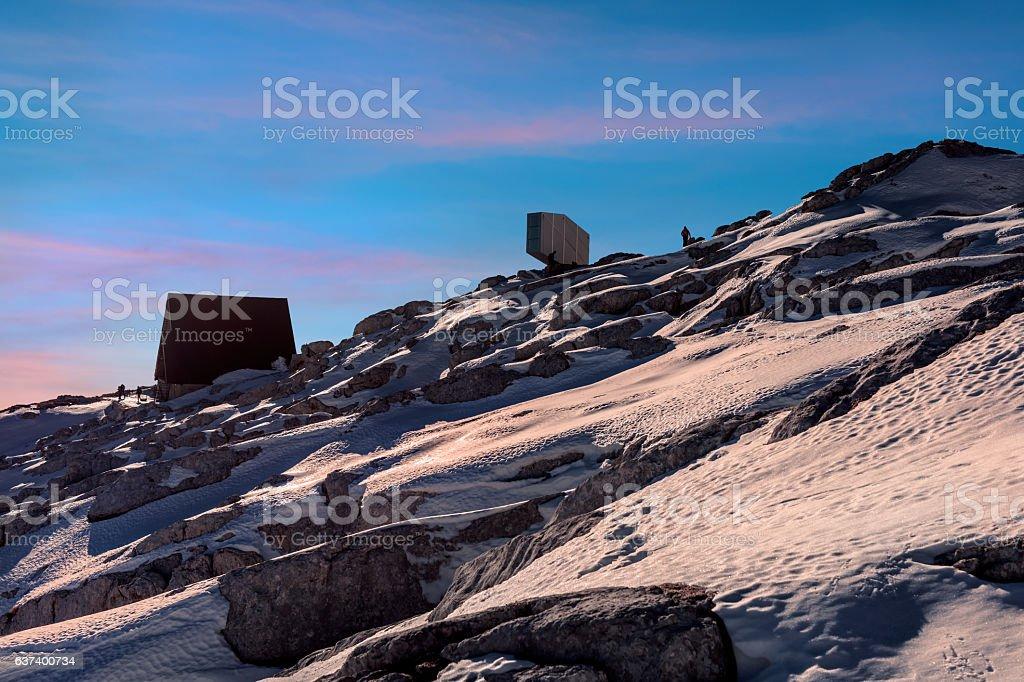 Snowy Julian Alps at Sunset, Kanin,Primorska, Slovenia, Europe stock photo