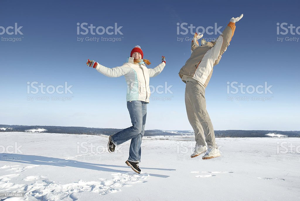 Snowy jumping royalty-free stock photo