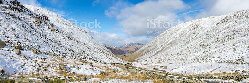 Snowy Kirkstone Pass Panoramic stock photo