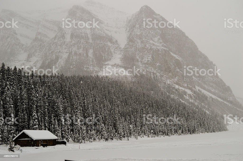 Snowy Lake Louise stock photo