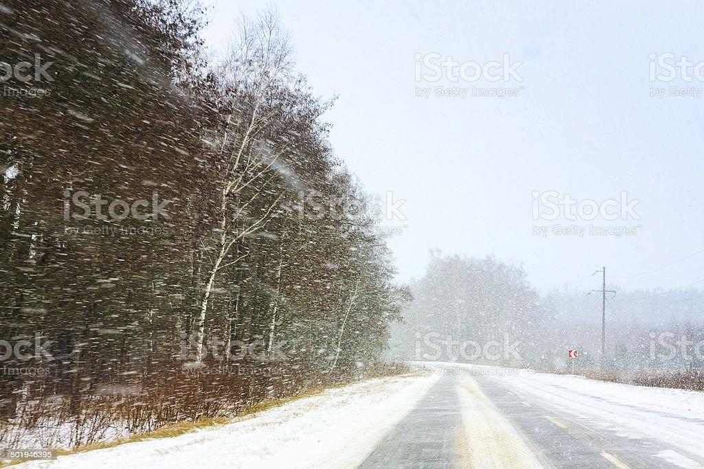 Snowy Land Road stock photo