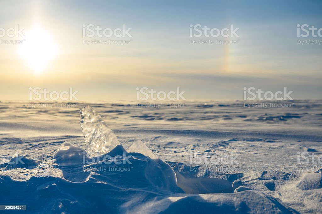 Snowy landscape, ice, wind and blizzard stock photo