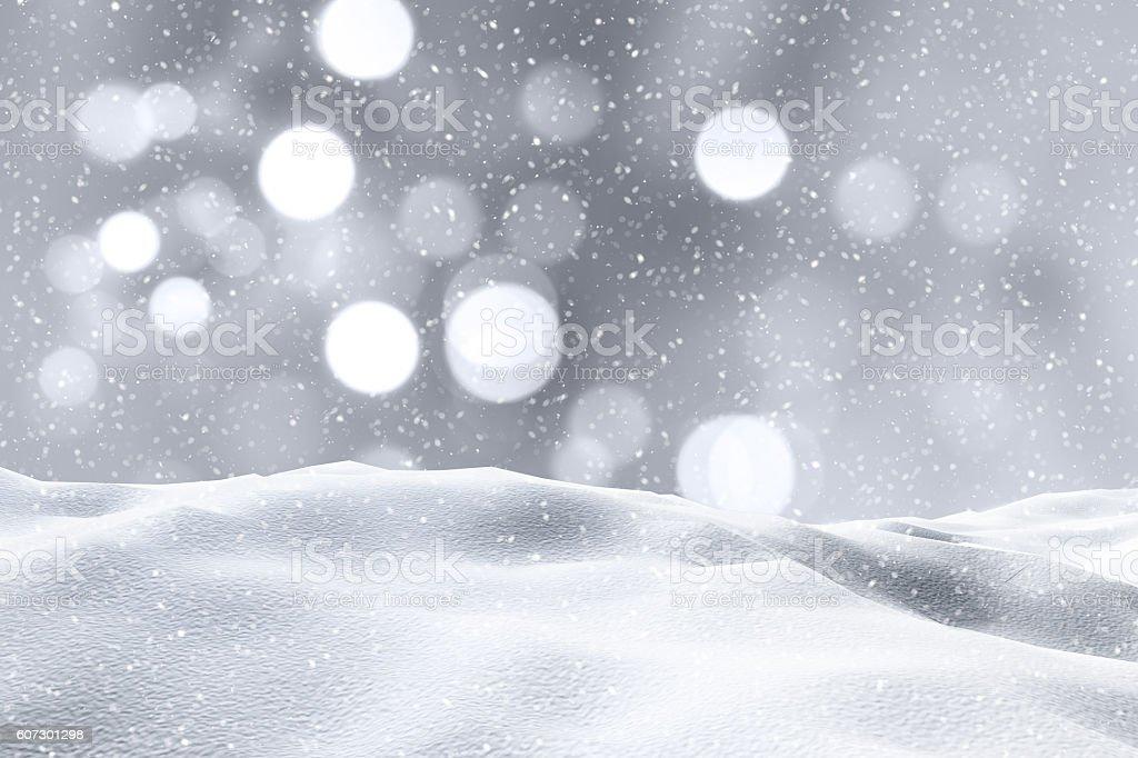3D snowy landscape stock photo