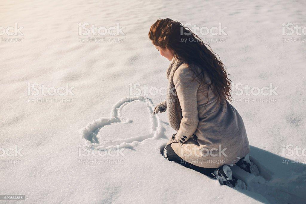 Snowy love stock photo